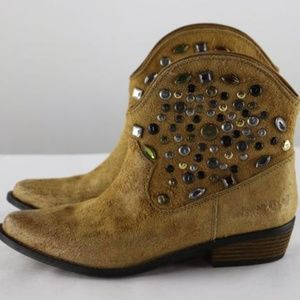 Lucky Brand Tan Embellished Leather Boots Sz 8